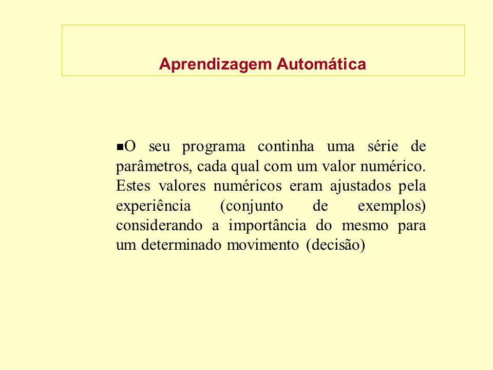 Aprendizagem Automática O seu programa continha uma série de parâmetros, cada qual com um valor numérico.