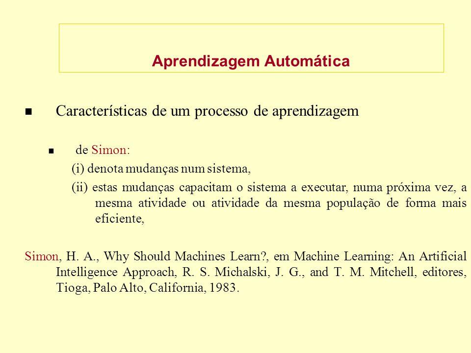 Aprendizagem Automática Características de um processo de aprendizagem de Simon: (i) denota mudanças num sistema, (ii) estas mudanças capacitam o sistema a executar, numa próxima vez, a mesma atividade ou atividade da mesma população de forma mais eficiente, Simon, H.