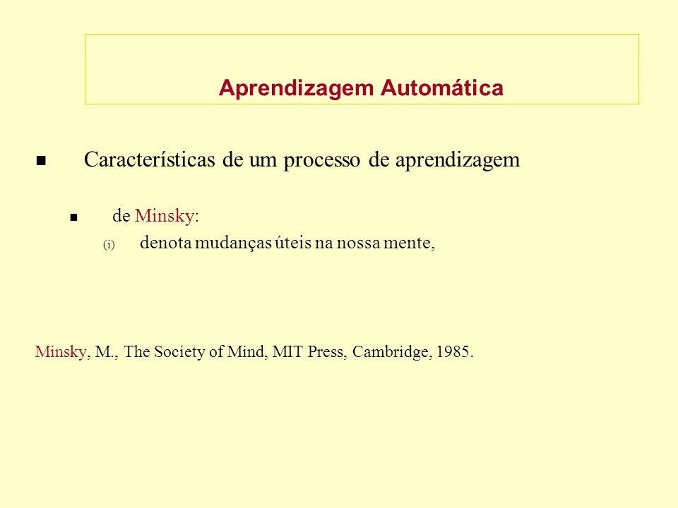Aprendizagem Automática Características de um processo de aprendizagem de Minsky: (i) denota mudanças úteis na nossa mente, Minsky, M., The Society of Mind, MIT Press, Cambridge, 1985.