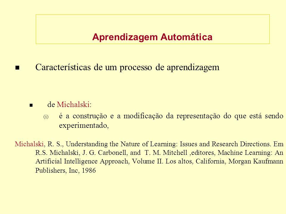 Aprendizagem Automática Características de um processo de aprendizagem de Michalski: (i) é a construção e a modificação da representação do que está sendo experimentado, Michalski, R.