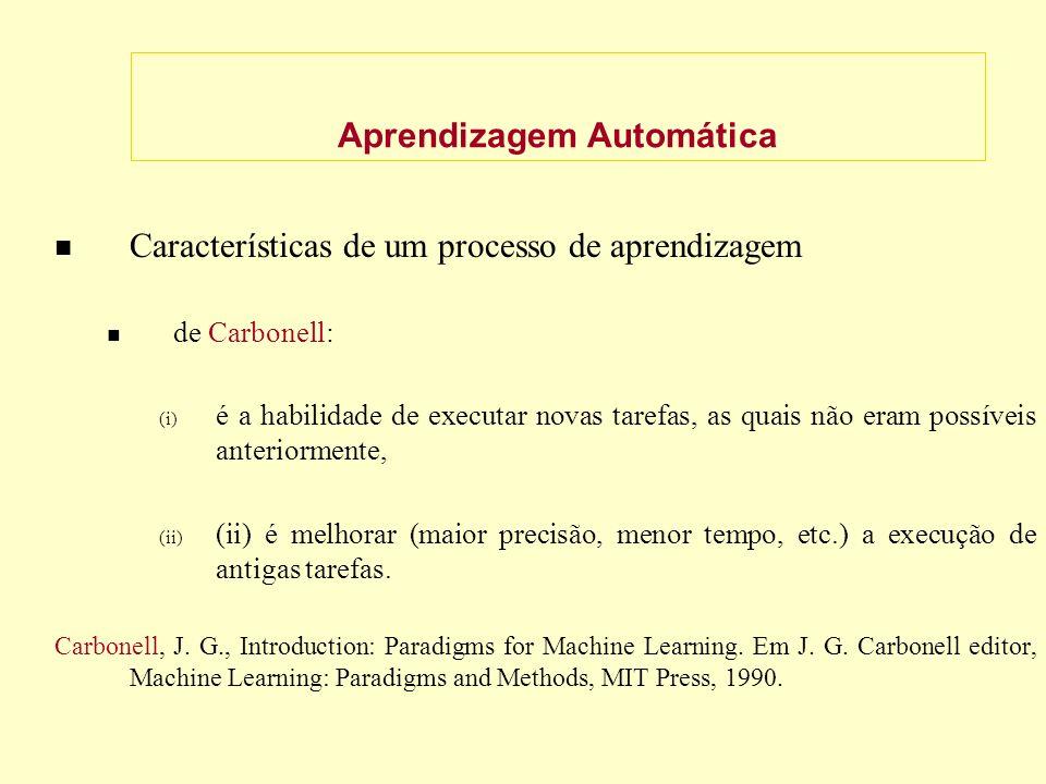 Aprendizagem Automática Características de um processo de aprendizagem de Carbonell: (i) é a habilidade de executar novas tarefas, as quais não eram possíveis anteriormente, (ii) (ii) é melhorar (maior precisão, menor tempo, etc.) a execução de antigas tarefas.