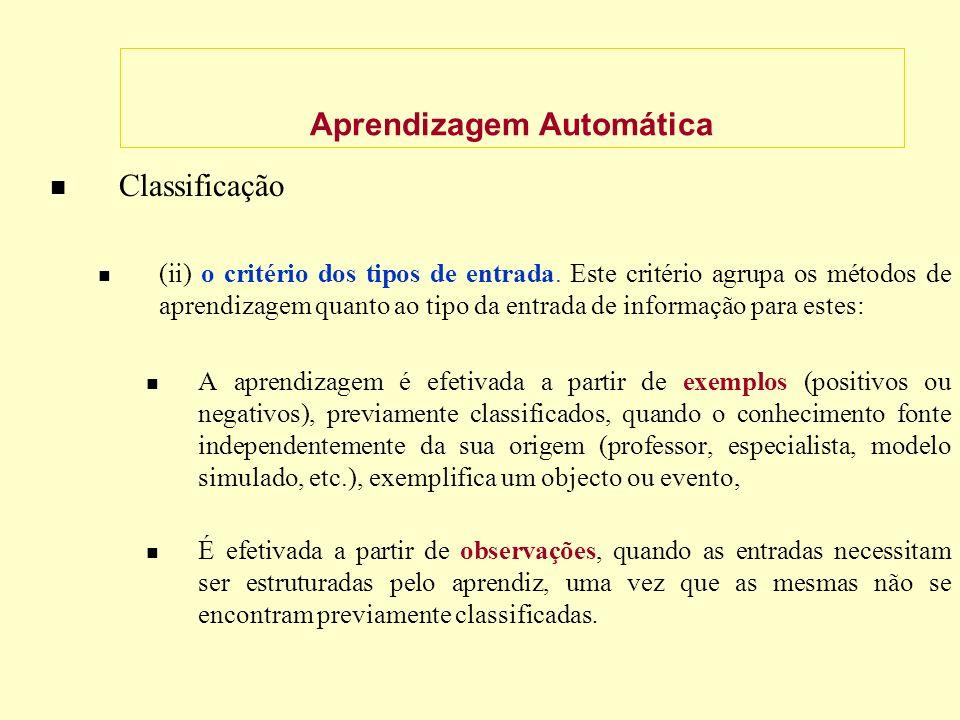 Aprendizagem Automática Classificação (ii) o critério dos tipos de entrada.