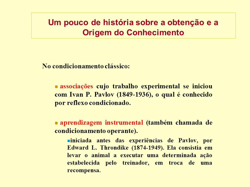 Um pouco de história sobre a obtenção e a Origem do Conhecimento No condicionamento clássico: associações cujo trabalho experimental se iniciou com Ivan P.