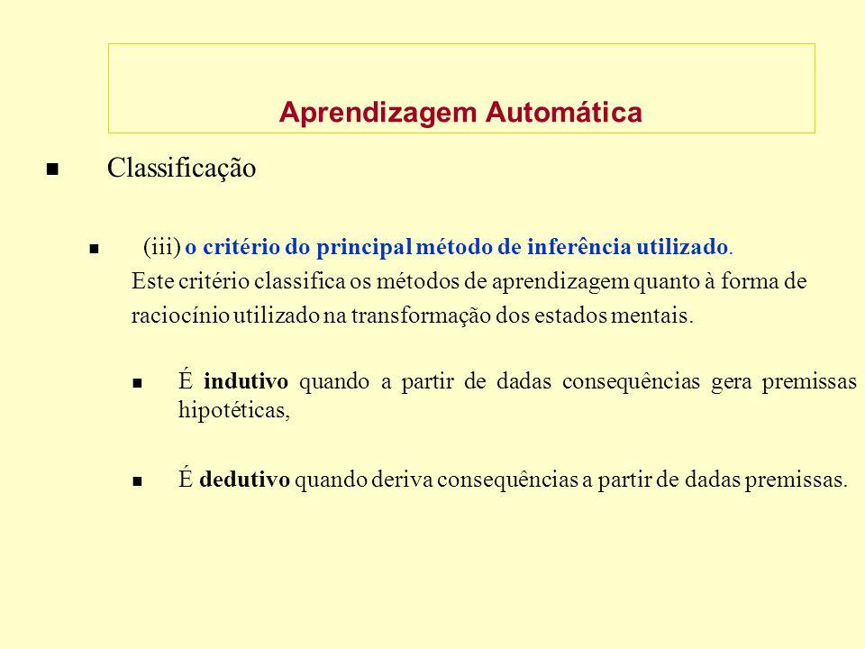 Aprendizagem Automática Classificação (iii) o critério do principal método de inferência utilizado.
