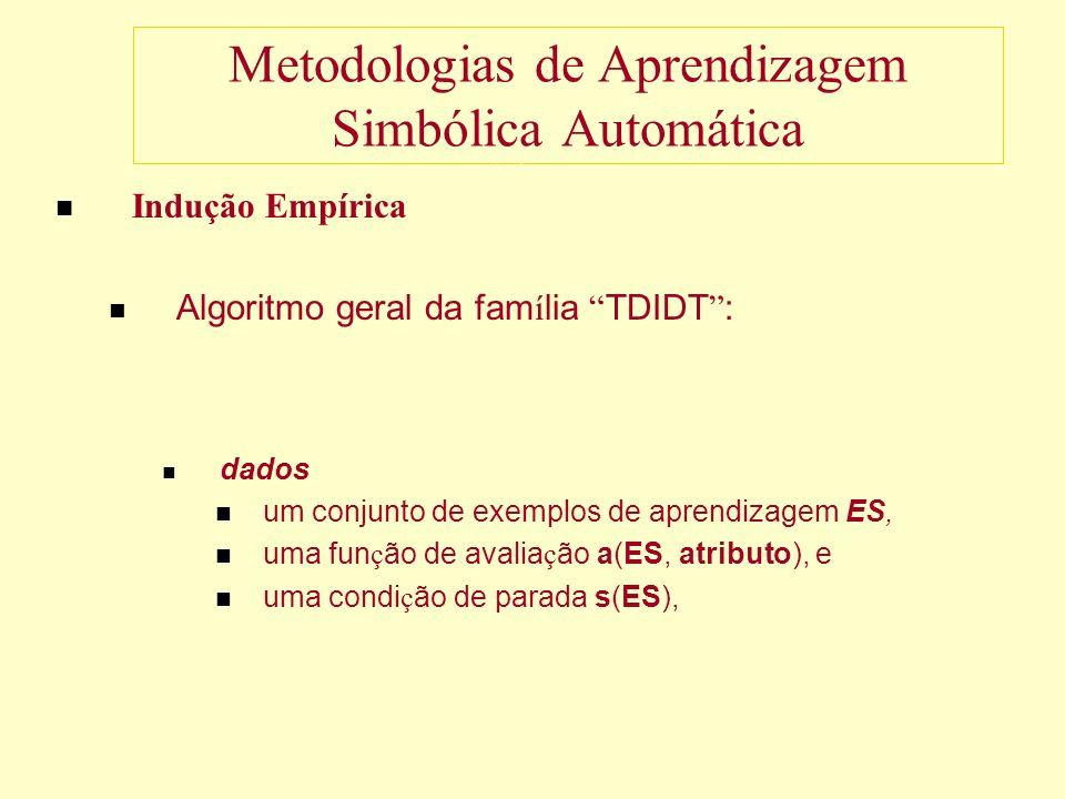 Metodologias de Aprendizagem Simbólica Automática Indução Empírica Algoritmo geral da fam í lia TDIDT : dados um conjunto de exemplos de aprendizagem ES, uma fun ç ão de avalia ç ão a(ES, atributo), e uma condi ç ão de parada s(ES),