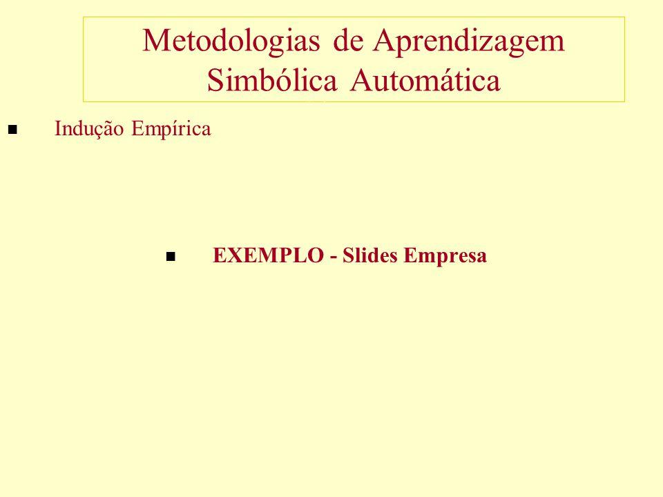 Metodologias de Aprendizagem Simbólica Automática Indução Empírica EXEMPLO - Slides Empresa