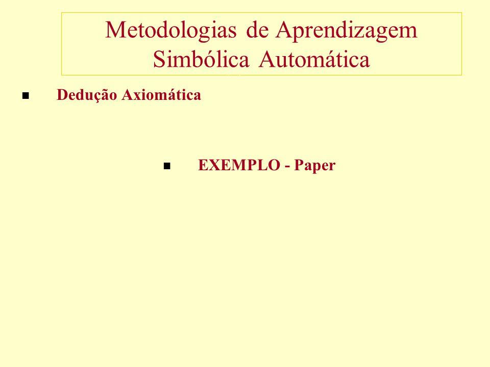 Metodologias de Aprendizagem Simbólica Automática Dedução Axiomática EXEMPLO - Paper