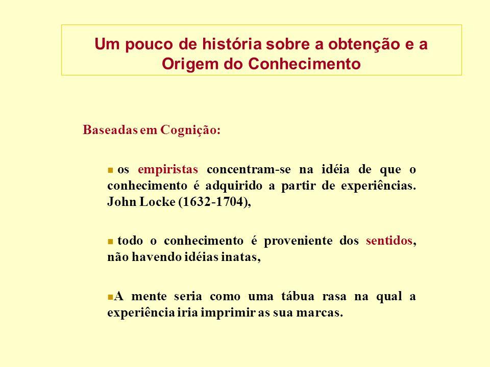 Um pouco de história sobre a obtenção e a Origem do Conhecimento Baseadas em Cognição: os empiristas concentram-se na idéia de que o conhecimento é adquirido a partir de experiências.