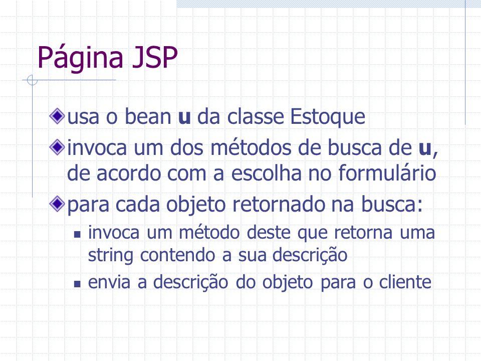 Página JSP usa o bean u da classe Estoque invoca um dos métodos de busca de u, de acordo com a escolha no formulário para cada objeto retornado na bus