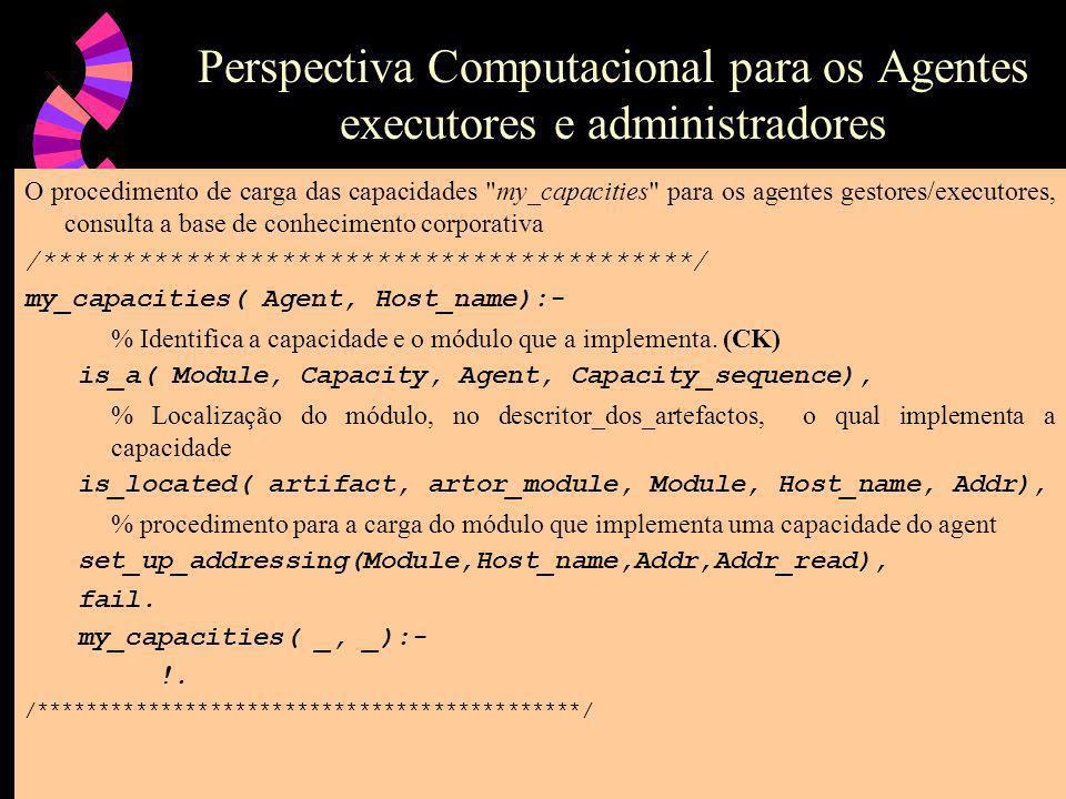 Perspectiva Computacional para os Agentes executores e administradores O procedimento de carga das capacidades my_capacities para os agentes gestores/executores, consulta a base de conhecimento corporativa /*****************************************/ my_capacities( Agent, Host_name):- % Identifica a capacidade e o módulo que a implementa.
