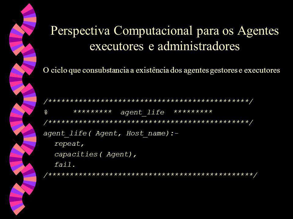 Perspectiva Computacional para os Agentes executores e administradores O ciclo que consubstancia a existência dos agentes gestores e executores /**********************************************/ % ********* agent_life ********* /**********************************************/ agent_life( Agent, Host_name):- repeat, capacities( Agent), fail.
