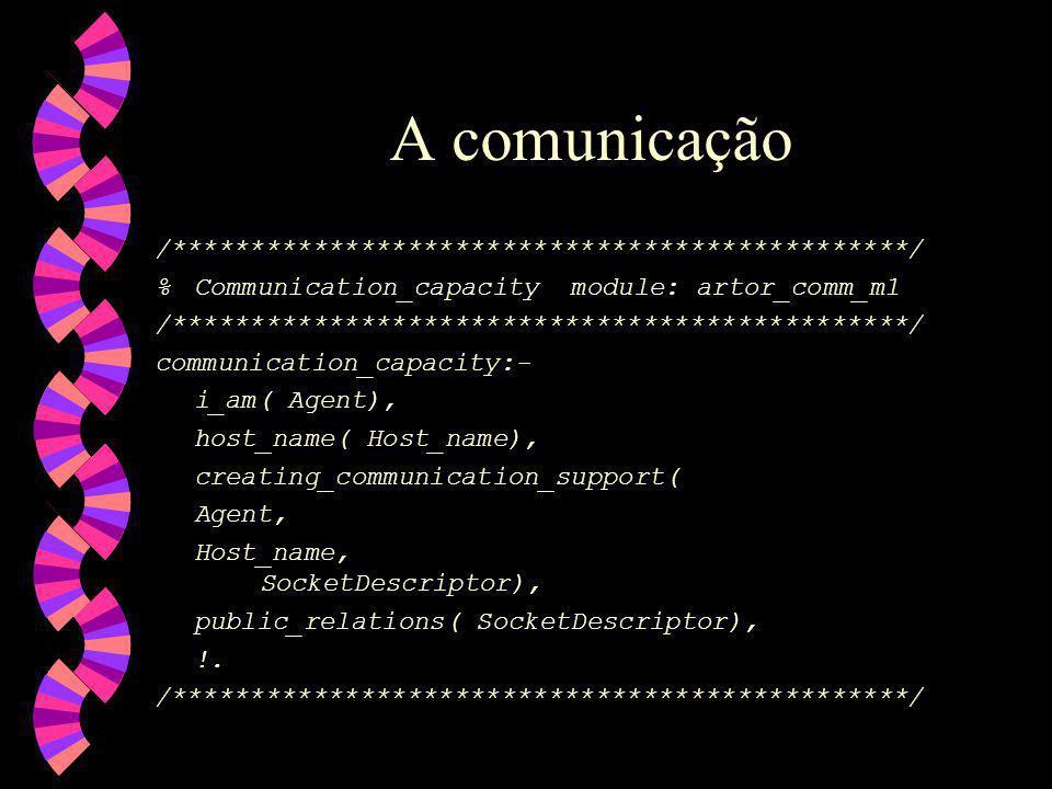 /***********************************************/ %Communication_capacity module: artor_comm_m1 /***********************************************/ communication_capacity:- i_am( Agent), host_name( Host_name), creating_communication_support( Agent, Host_name, SocketDescriptor), public_relations( SocketDescriptor), !.