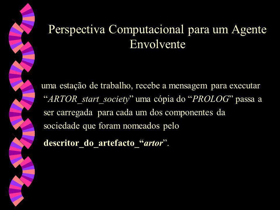 Perspectiva Computacional para um Agente Envolvente w Os agentes envolventes ( cover_agents ), componentes da sociedade, são definidos pelo par ordenado: (Kb, Asca) onde: (i) Kb é a base de conhecimento, e (ii) Asca é um modelo, de mecanismo genérico, para a geração automática de agentes envolventes,