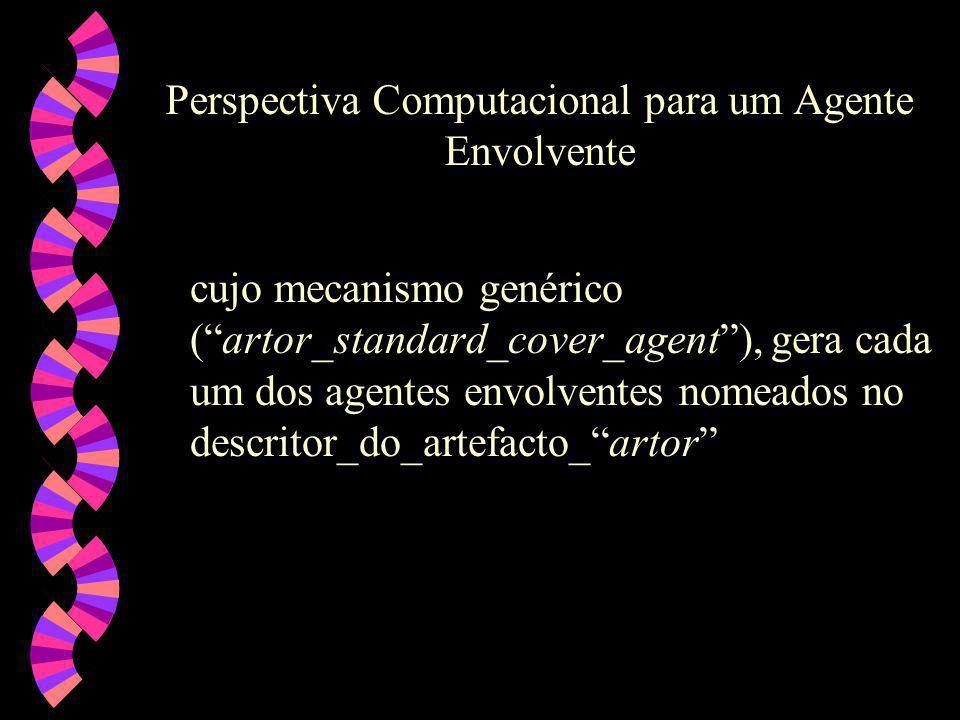 Perspectiva Computacional para um Agente Envolvente cujo mecanismo genérico (artor_standard_cover_agent), gera cada um dos agentes envolventes nomeados no descritor_do_artefacto_artor