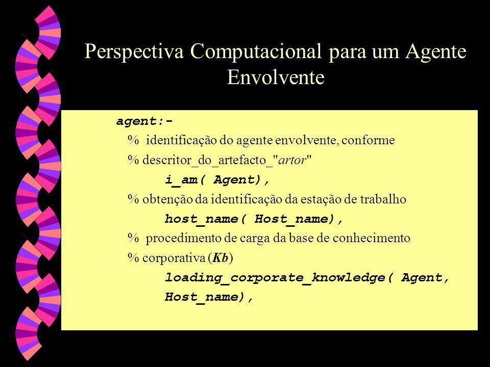 Perspectiva Computacional para um Agente Envolvente agent:- % identificação do agente envolvente, conforme % descritor_do_artefacto_ artor i_am( Agent), % obtenção da identificação da estação de trabalho host_name( Host_name), % procedimento de carga da base de conhecimento % corporativa (Kb) loading_corporate_knowledge( Agent, Host_name),
