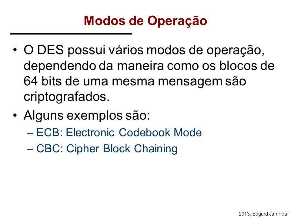 2013, Edgard Jamhour Função de Feistel Opera em meio bloco (32 bits) de cada vez. É composto de 4 operações: –Expansion : transforma o bloco de 32 bit