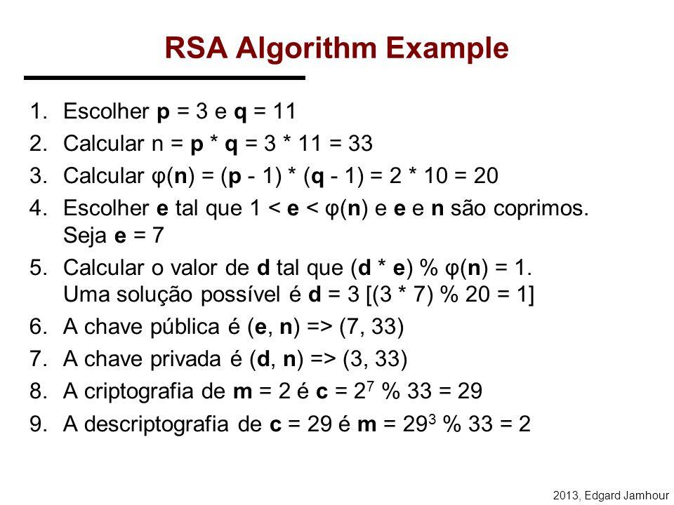 2013, Edgard Jamhour RSA (Rivest, Shamir, Adleman) Sejam p, q e e números primos (> 512 bits). Calcula-se: –n = p.q e ed = 1 mod (p-1)(q-1) As chaves