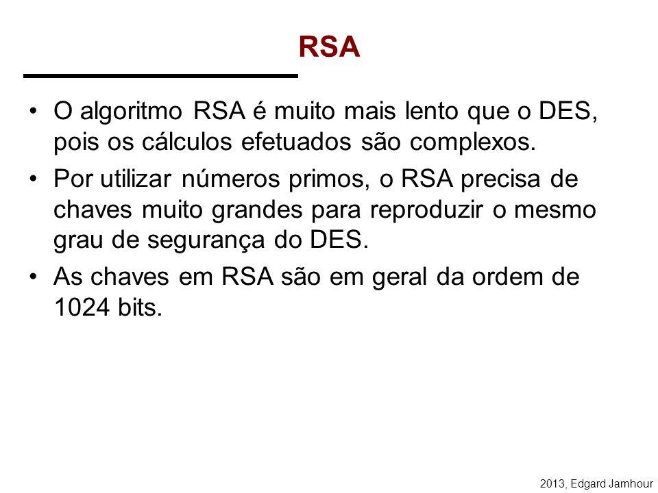 2013, Edgard Jamhour RSA Algorithm Example 1.Escolher p = 3 e q = 11 2.Calcular n = p * q = 3 * 11 = 33 3.Calcular φ(n) = (p - 1) * (q - 1) = 2 * 10 =