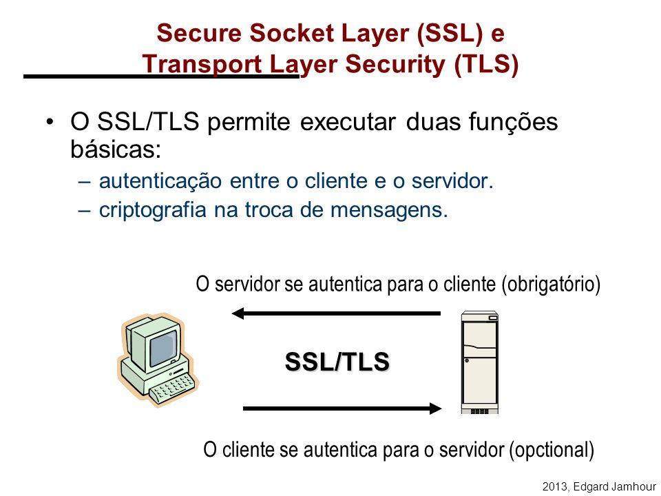 2013, Edgard Jamhour TLS Os objetivos do TLS são: –Segurança criptográfica entre dois pontos. –Interoperabilidade: programadores independentes devem s