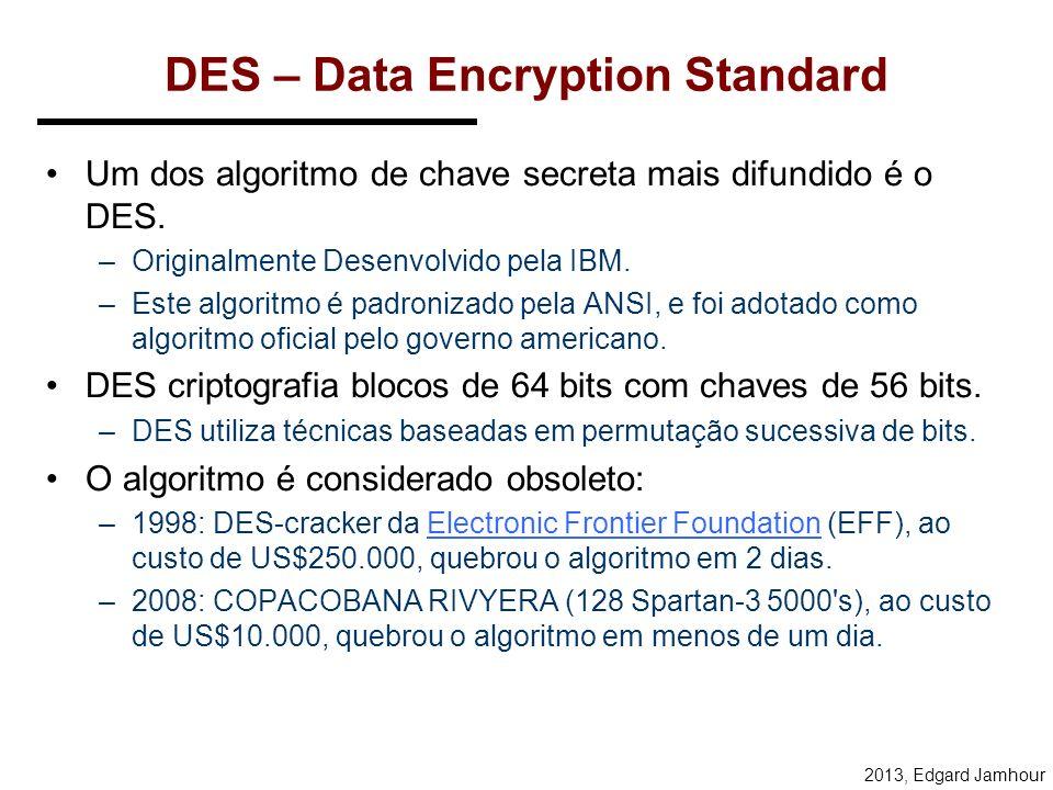 2013, Edgard Jamhour Conclusão Criptografia Simétrica –Chaves de pelo menos 128 bits –Rápido –Usado para proteção de dados Criptografia Assimétrica –Chaves de pelo menos 1024 bits –Lento –Usado no processo de negociação de chaves