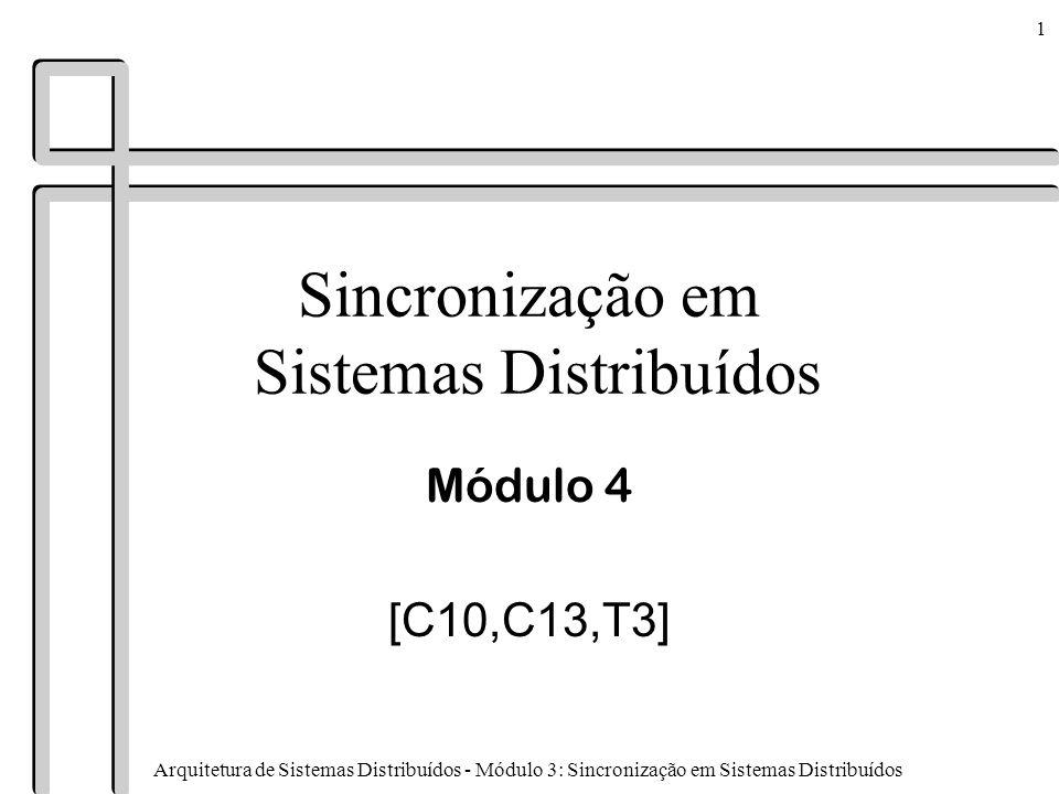 Arquitetura de Sistemas Distribuídos - Módulo 3: Sincronização em Sistemas Distribuídos 2 Conteúdo n Relógios lógicos n Relógicos físicos n Exclusão mútua n Algoritmos de eleição