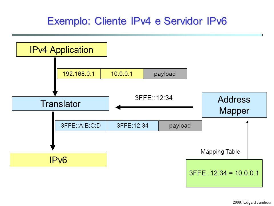 2008, Edgard Jamhour Exemplo: Cliente IPv4 e Servidor IPv6 Aplicação IPv4 Name Resolver Address Mapper 1. www6.pucpr.br? DNS 2. www6.pucpr.br 4. 3FFE: