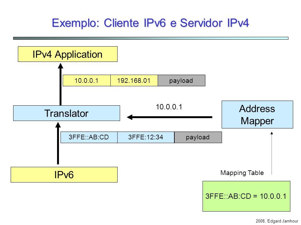 2008, Edgard Jamhour Exemplo 2: Cliente IPv6 e Servidor IPv4 Dual Stack 192.168.0.1 3FFE::12:34 Single Stack 3FFE:AB:CD 3FFE::12:34 www4.pucpr.br DNS Rede IPv6 Aplicação IPv6 Aplicação IPv4