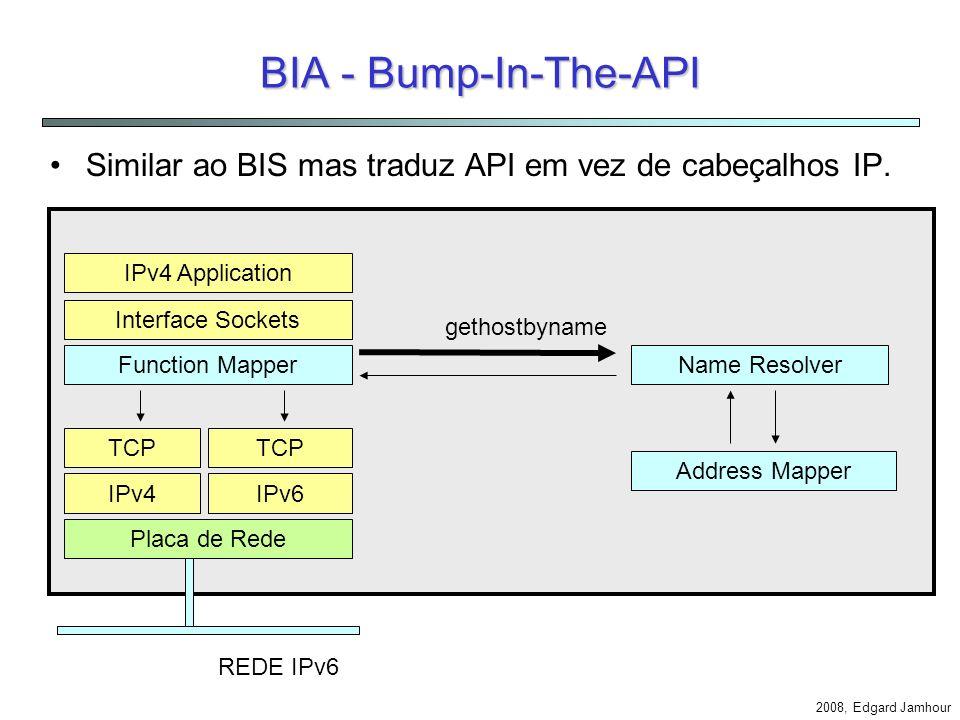2008, Edgard Jamhour Exemplo: Cliente IPv6 e Servidor IPv4 IPv4 Application Translator Address Mapper 3FFE::AB:CD = 10.0.0.1 Mapping Table 10.0.0.1192.168.01payload IPv6 10.0.0.1 3FFE::AB:CD3FFE:12:34payload