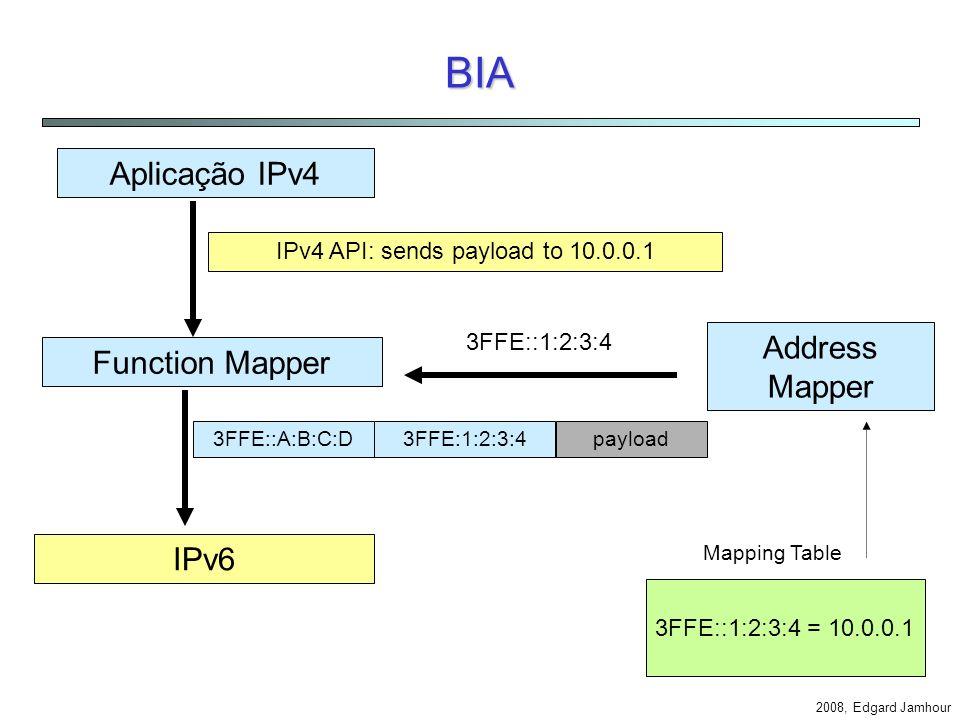 2008, Edgard Jamhour BIA - Bump-In-The-API Similar ao BIS mas traduz API em vez de cabeçalhos IP. Name Resolver Address Mapper REDE IPv6 gethostbyname