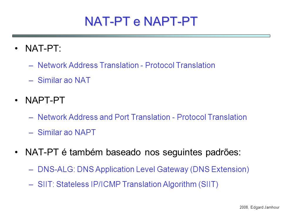 2008, Edgard Jamhour BIA Aplicação IPv4 Function Mapper Address Mapper 3FFE::1:2:3:4 = 10.0.0.1 Mapping Table IPv6 3FFE::1:2:3:4 3FFE::A:B:C:D3FFE:1:2:3:4payload IPv4 API: sends payload to 10.0.0.1