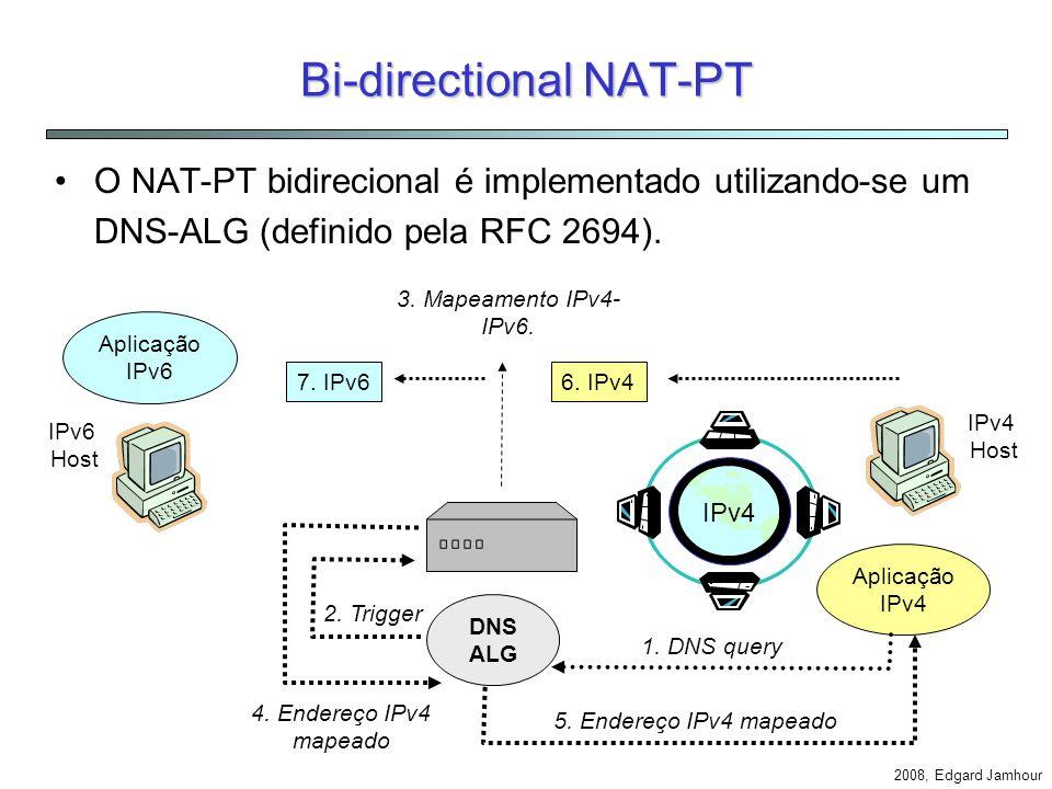 2008, Edgard Jamhour NAT-PT IPv6 Network 3FFE::12:34 210.0.0.1 to 210.0.0.10 3ffe::12:34 ::ffff: payload210.0.0.1payload200.1.2.33ffe::12:34 ::ffff: p