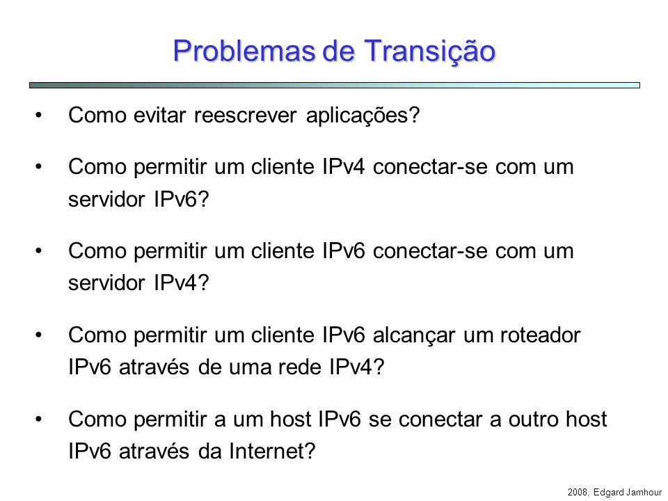 2008, Edgard Jamhour IPv6 (Parte 2: Mecanismos de Transição) Edgard Jamhour