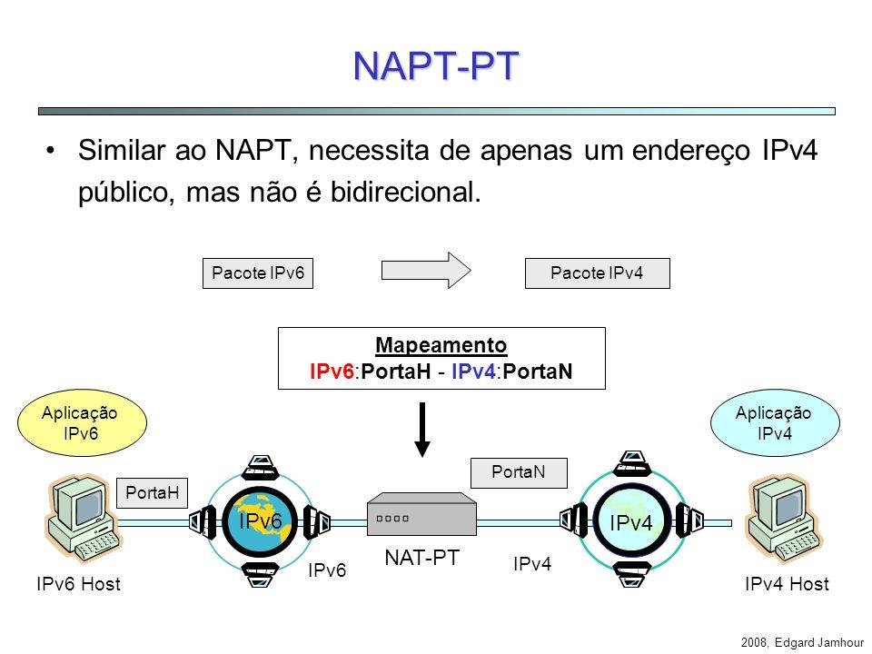 2008, Edgard Jamhour Bi-directional NAT-PT IPv4 Host Aplicação IPv4 3. Mapeamento IPv4- IPv6. 1. DNS query Aplicação IPv6 IPv6 Host 2. Trigger 4. Ende