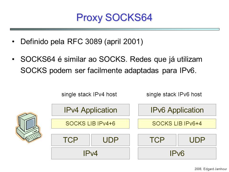 2008, Edgard Jamhour NAPT-PT não é Bidirecional Endereço IP Público 200.0.0.1 clientes servidor 3FFE::a Private IP:Port 3FFE::a :1024 3FFE::b :1024 3FFE::c :1025 3FFE::b 3FFE::c request reply 1025 1026 1027 Public IP:Port 200.0.0.1 :1025 200.0.0.1 :1026 200.0.0.1 :1027 1024 1025 IPv4