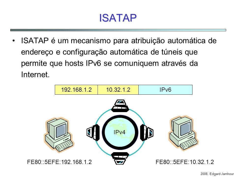 2008, Edgard Jamhour Técnicas de Tunelamento Permite que hosts ou redes IPv6 isoladas se comunique pela Internet. Pacotes IPv6 são encapsulados como d