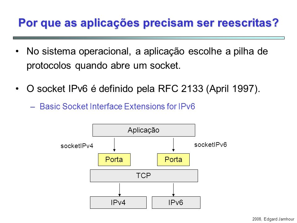 2008, Edgard Jamhour Exemplo: Cliente IPv6 e Servidor IPv4 IPv4 Application Translator Address Mapper 3FFE::AB:CD = 10.0.0.1 Mapping Table 10.0.0.1192.168.01payload IPv6 10.0.0.1 3FFE::AB:CD3FFE:12:34payload