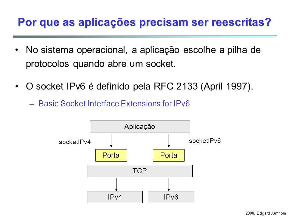 2008, Edgard Jamhour Problemas de Transição Como evitar reescrever aplicações? Como permitir um cliente IPv4 conectar-se com um servidor IPv6? Como pe