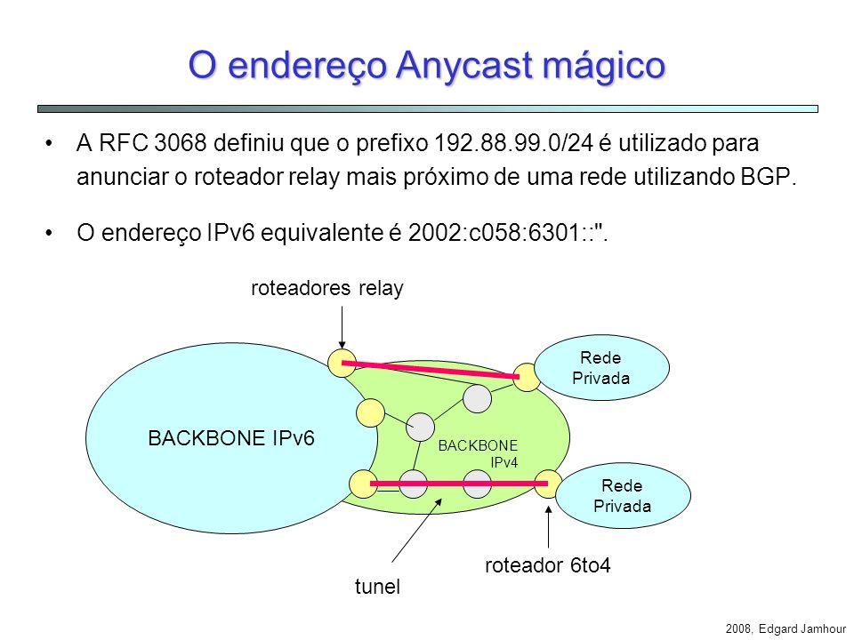 Roteadores 6to4 Relay Roteadores Relay são utilizados para permitir a comunicação entre Hosts 6to4 através de backbones puramente IPv6. Os roteadores