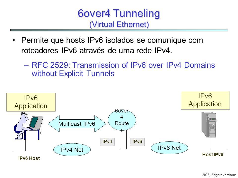 2008, Edgard Jamhour Exemplo A tabela abaixo ilustra as rotas criadas automaticamente pelo Windows XP para acessar redes IPv6. ::/0 -> 3/2002:c058:630