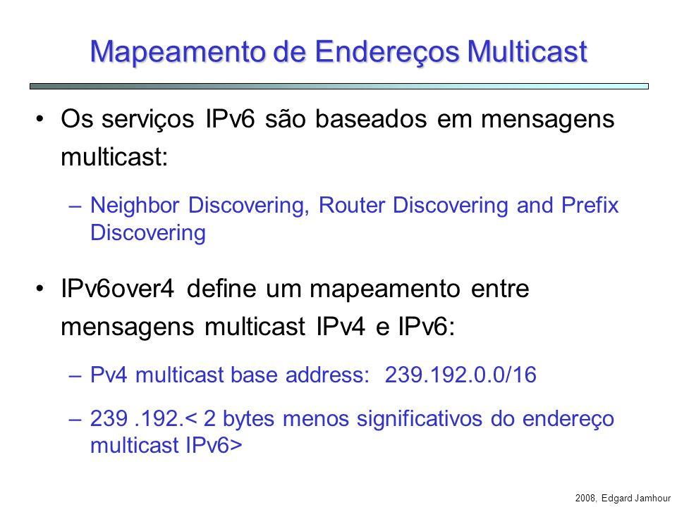 2008, Edgard Jamhour Formato dos Pacotes Pacotes IPv6 são encapsulados no interior de pacotes IPv4 utilizando o tipo de protocolo 41.