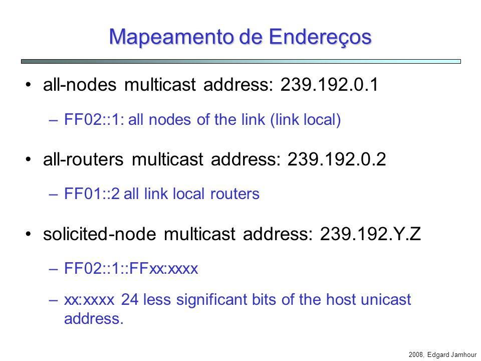 2008, Edgard Jamhour Mapeamento de Endereços Multicast Os serviços IPv6 são baseados em mensagens multicast: –Neighbor Discovering, Router Discovering and Prefix Discovering IPv6over4 define um mapeamento entre mensagens multicast IPv4 e IPv6: –Pv4 multicast base address: 239.192.0.0/16 –239.192.