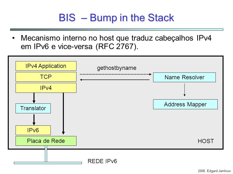 2008, Edgard Jamhour Dual Stack A forma mais simples de integração entre IPv4 e IPv6 é utilizar S.O. dual stack. Aplicação TCP IPv4IPv6 Enlace Aplicaç
