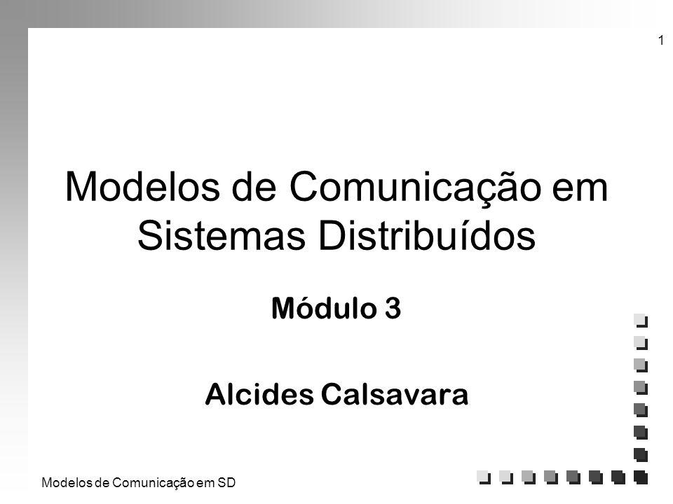 Modelos de Comunicação em SD 1 Modelos de Comunicação em Sistemas Distribuídos Módulo 3 Alcides Calsavara