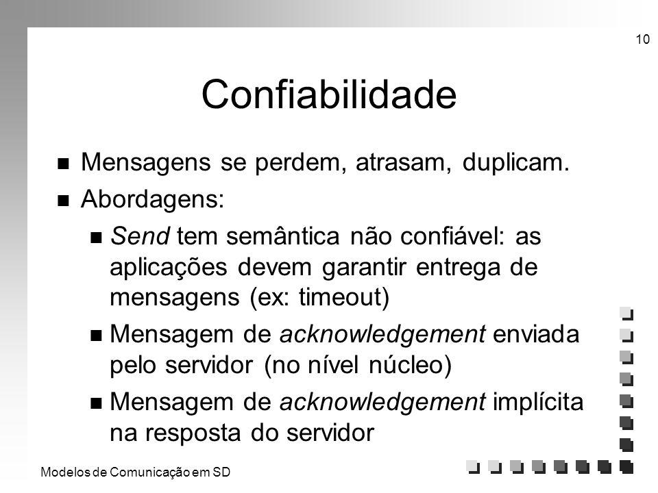 Modelos de Comunicação em SD 10 Confiabilidade n Mensagens se perdem, atrasam, duplicam. n Abordagens: n Send tem semântica não confiável: as aplicaçõ