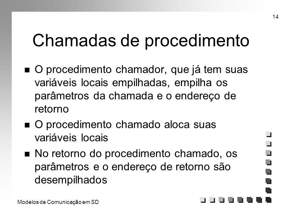 Modelos de Comunicação em SD 14 Chamadas de procedimento n O procedimento chamador, que já tem suas variáveis locais empilhadas, empilha os parâmetros