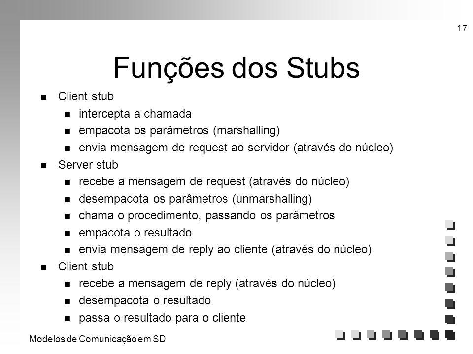 Modelos de Comunicação em SD 17 Funções dos Stubs n Client stub n intercepta a chamada n empacota os parâmetros (marshalling) n envia mensagem de requ