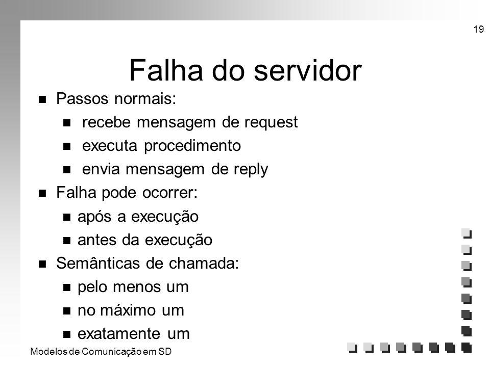 Modelos de Comunicação em SD 19 Falha do servidor n Passos normais: n recebe mensagem de request n executa procedimento n envia mensagem de reply n Fa