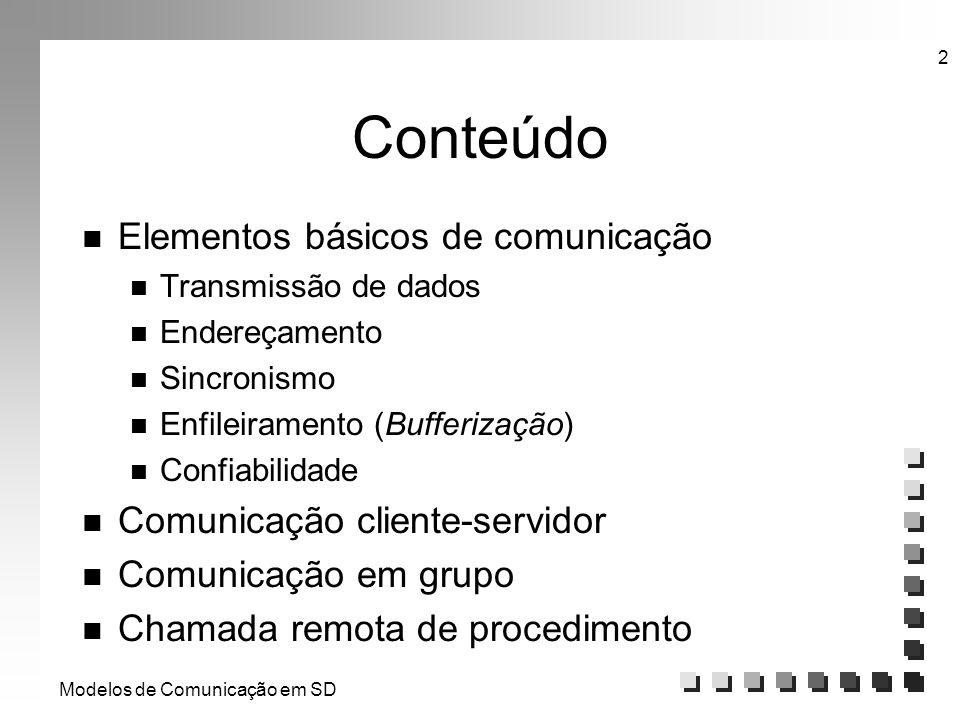 Modelos de Comunicação em SD 2 Conteúdo n Elementos básicos de comunicação n Transmissão de dados n Endereçamento n Sincronismo n Enfileiramento (Buff