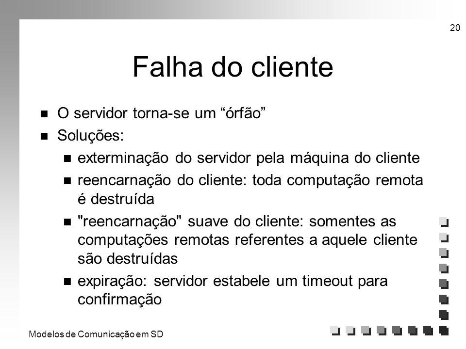 Modelos de Comunicação em SD 20 Falha do cliente n O servidor torna-se um órfão n Soluções: n exterminação do servidor pela máquina do cliente n reenc