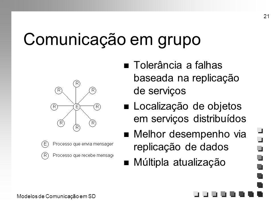 Modelos de Comunicação em SD 21 Comunicação em grupo n Tolerância a falhas baseada na replicação de serviços n Localização de objetos em serviços dist